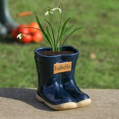 Personalised Small Blue Wellington Planter