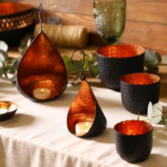 Black and Copper Tea Light Holder Set