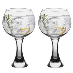 Set of 2 Chunky Stemmed Gin Glasses