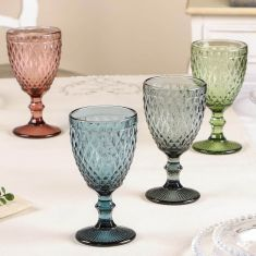 Set of 4 Diamond Embossed Coloured Wine Goblets