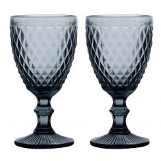 Set of 2 Grey Diamond Embossed Coloured Wine Glass Goblets