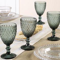 Set of 4 Grey Diamond Embossed Wine Glass Goblets