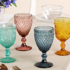 Set of 4 Kaleidoscope Embossed Wine Goblets