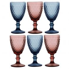 Set of 6 Diamond Coloured Wine Goblets