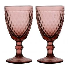 Set of 2 Purple Diamond Embossed Coloured Wine Glass Goblets