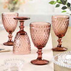 Set of 4 Pink Diamond Embossed Wine Glass Goblets