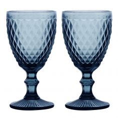 Set of 2 Blue Diamond Embossed Coloured Wine Glass Goblets