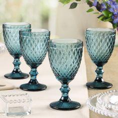 Set of 4 Blue Diamond Embossed Wine Glass Goblets