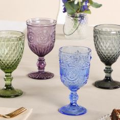 Set of 4 Colour Embossed Wine Goblets