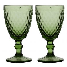 Set of 2 Green Diamond Embossed Coloured Wine Glass Goblets