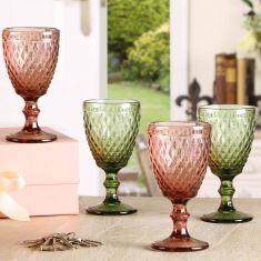 Set of 4 Diamond Embossed Wine Goblets