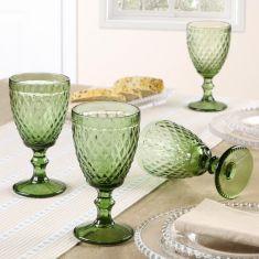 Set of 4 Green Diamond Embossed Wine Glass Goblets