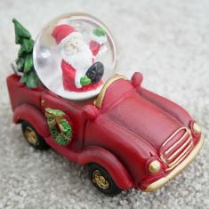 Driving Santa Snow Globe Decoration
