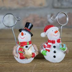 Set of 4 Snowman Christmas Card Holders