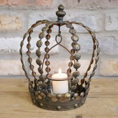 Aged Brass Rustic Crown Candle Lantern