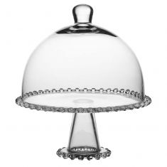 Bella Perle Glass Beaded Cake Stand and Dome