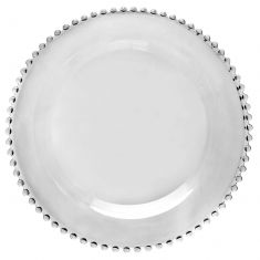 Bella Perle Beaded Glass Charger Plate