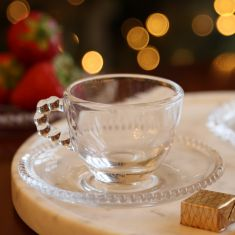 Set of 2 Bella Perle Glass Espresso Cups and Saucers
