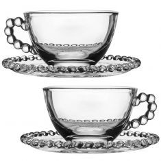 Set of 2 Bella Perle Glass Teacup and Saucers
