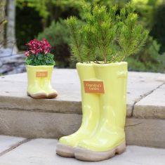 Personalised Sunshine Yellow Little & Large Planter Set