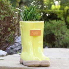 Personalised Sunshine Yellow Large Wellington Planter