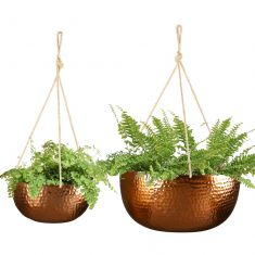 Set of 2 Copper Hanging Bucket Planters