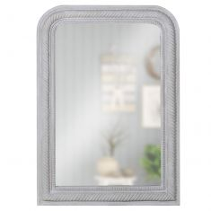 Grey Curved Corner Rope Edge Mirror