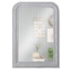 Grey Curved Corner Rope Edge Mirror