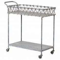 French Grey Bar and Drinks Serving Trolley