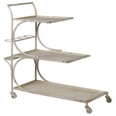 Distressed Cream Large Iron Bar Drinks Trolley