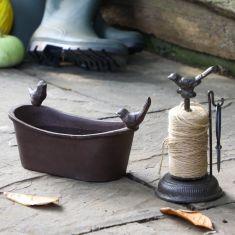Cast Iron Roll Top Bird Bath & String Dispenser
