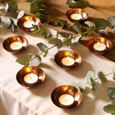 Set of 6 Brushed Copper Tealight Bowls