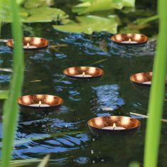 Set of 6 Black & Copper Tea Light Holder Bowls