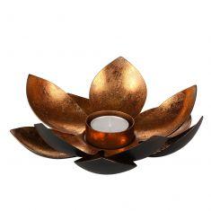 Black & Copper Lotus Flower Tealight Holder