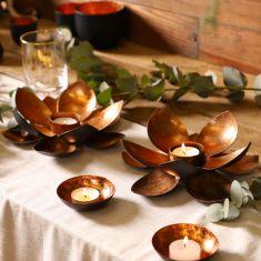 Set of 2 Copper Flower Tea Light Centrepieces