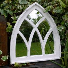 Arch White Vintage Garden Mirror