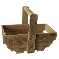 Oak Finish Wooden Trug Basket