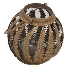 Bronze Leaf Candle Lantern
