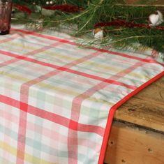 Large Pastel Gingham Cotton Table Cloth