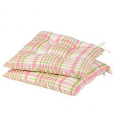 Set of 2 Pastel Plaid Alfresco Garden Seat Pads