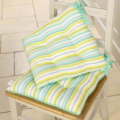 Set of 2 Citrus Stripe Seat Pads with Ties