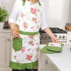 Helmsley Blush Floral Print Kitchen Apron