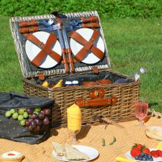 Wicker Picnic Hamper for Four with Insect Print
