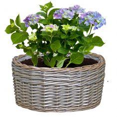 Lined Wicker Oval Planter