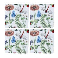 Set of 4 Pressed Flower China Coasters