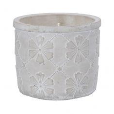Citronella Candle in Vintage Floral Concrete Pot