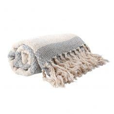 Grey Stripe Woven Fringed Throw Blanket