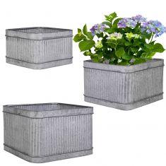 Set of 3 Vintage Style Garden Tub Planters