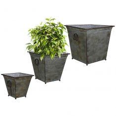 Set of 3 Vintage Square Bucket Planters
