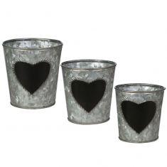 Set of 3 Zinc Chalkboard Herb Planters
